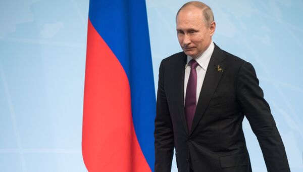 Президент РФ Владимир Путин во время пресс-конференции по итогам саммита лидеров Группы двадцати G20 в Гамбурге. 8 июля 2017
