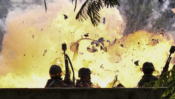 Сотрудников национальной гвардии в ходе протестов в Венесуэле. Архивное фото
