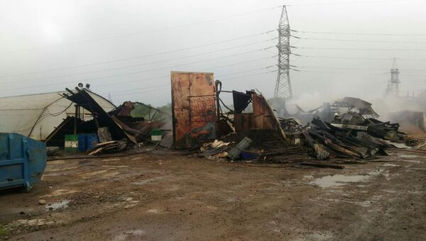 Ликвидация пожара в Колпинском районе Санкт-Петербурга. 13 июля 2017