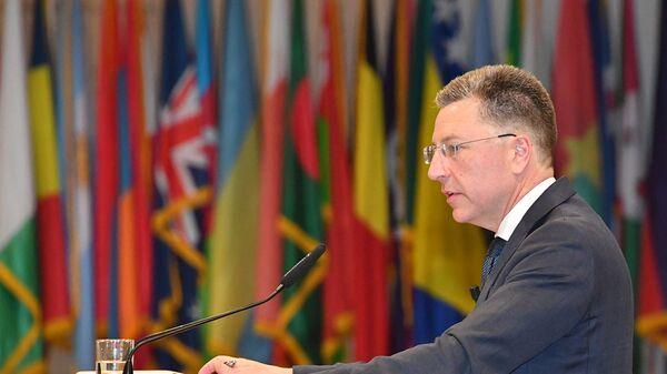 Спецпредставитель США по Украине Курт Волкер выступает на семинаре в Европейском центре иследования безопасности им.Джорджа К. Маршалла. 9 июня 2017