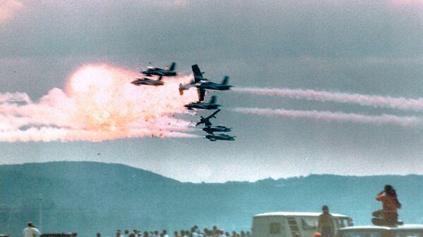 Столкновение самолетов пилотажной группы Frecce Tricolori на базе ВВС США Рамштайн в ФРГ. 28 августа 1988