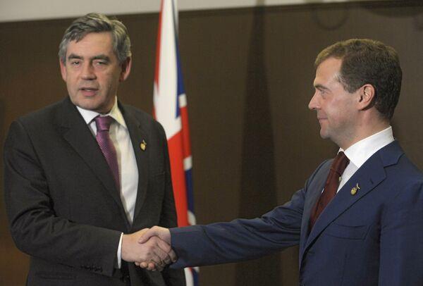 Премьер-министр Великобритании Гордон Браун и президент России Дмитрий Медведев. Архив