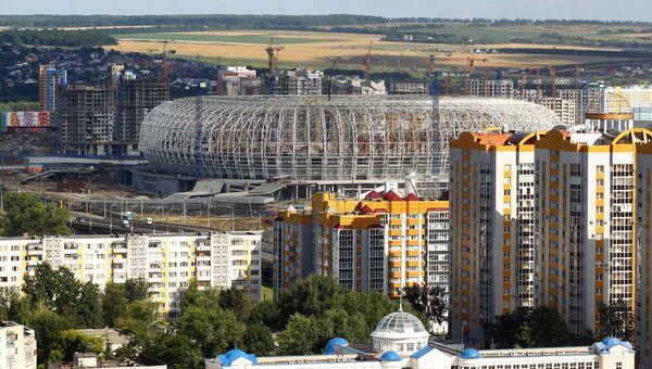 Вид на строящийся стадион Мордовия Арена в Саранске