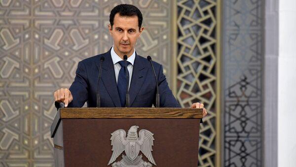 Президент Сирии Башар Асад на съезде дипломатов в Дамаске. 20 августа 2017