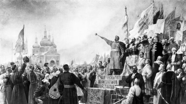 Репродукция рисунка Переяславская рада. Богдан Хмельницкий выступает за воссоединение Украины и России.