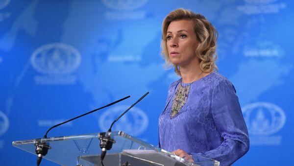 Официальный представитель министерства иностранных дел России Мария Захарова во время брифинга в Москве. Архивное фото