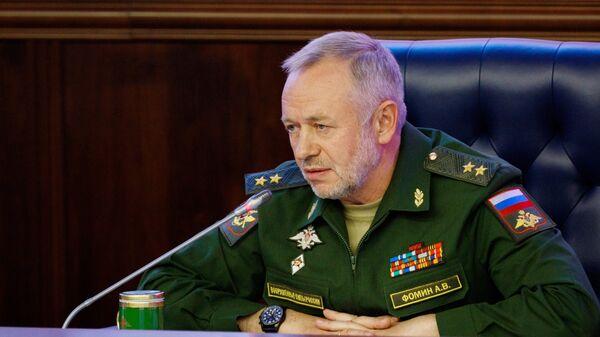 Заместитель министра обороны РФ Александр Фомин на пресс-конференции по итогам форума Армия-2017. 30 августа 2017