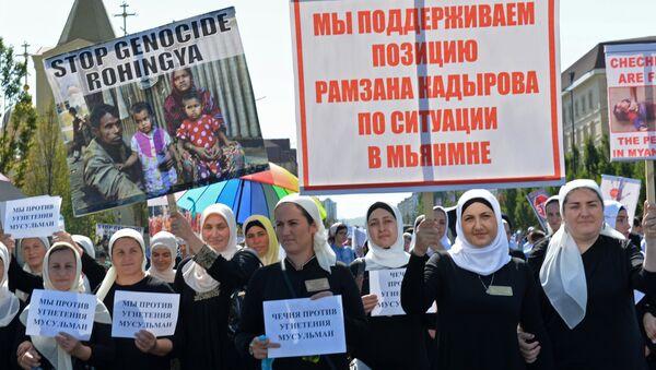 Митинг в Грозном в поддержку мусульман народа рохинджа. 4 сентября 2017
