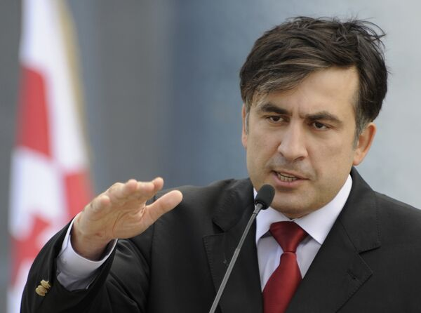 Президент Грузии Михаил Саакашвили на пресс-конференции в Тбилиси