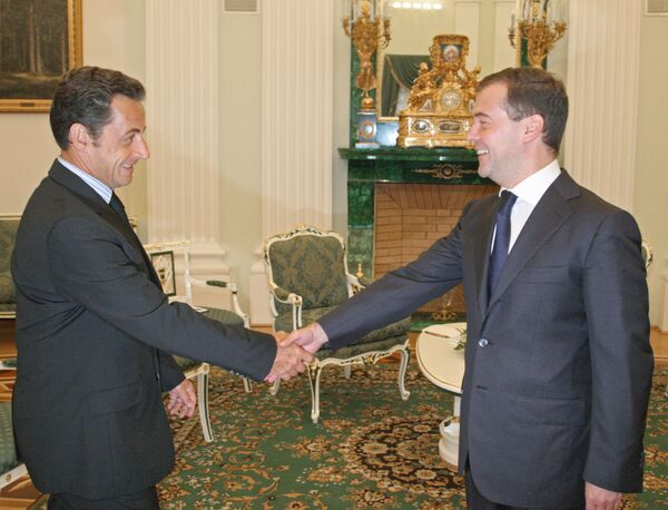 Президенты Франции и РФ Николя Саркози и Дмитрий Медведев