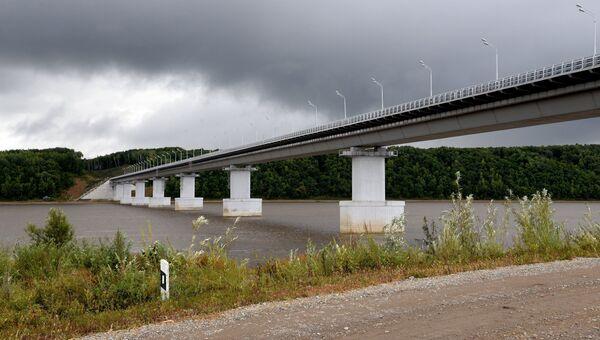 Мост на остров Большой Уссурийский через реку Амур в Хабаровском крае. Архивное фото