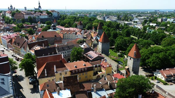 Вид на Старый город с верхушки церкви Олевисте - самого высокого строения средневековой Европы