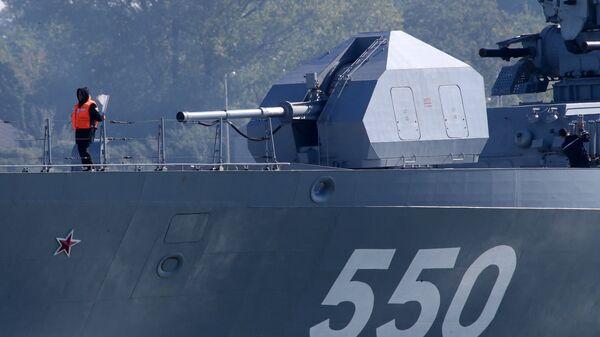 Корвет Стерегущий во время выхода кораблей Балтийского флота в море в рамках российско-белорусских стратегических учений Запад-2017
