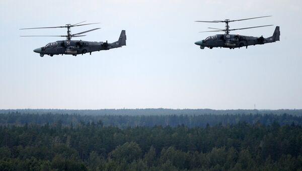 Вертолеты Ка-52 ВКС России во учений Запад-2017 в Белоруссии