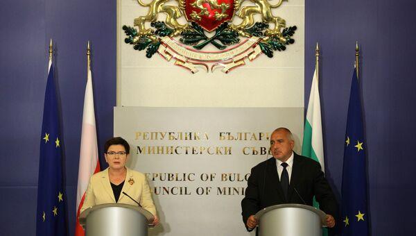 Премьер-министры Болгарии и Польши Бойко Борисов и Беата Шидло во время пресс-коференции в Софии. 20 сентября 2017