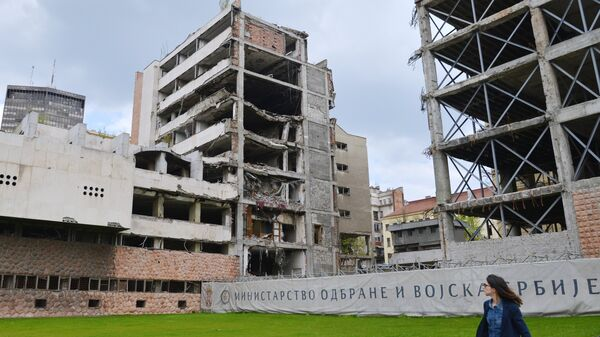Бывшее здание Министерства обороны, разрушенное после бомбардировки НАТО 1999 года в Белграде. Архивное фото