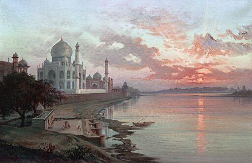 Тадж-Махал в вечернем свете. Картина индийского художника