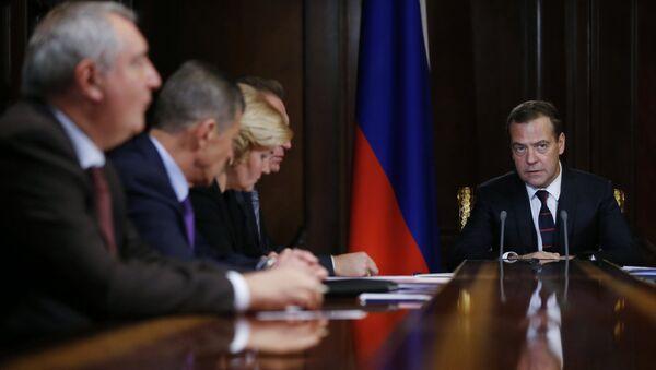Председатель правительства РФ Дмитрий Медведев проводит совещание с вице-премьерами РФ. 2 октября 2017