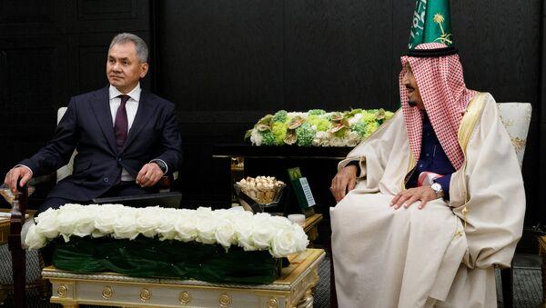 Министр обороны РФ Сергей Шойгу и король Саудовской Аравии Сальман Бен Абдель Азиз Аль Сауд во время встречи. 5 октября 2017
