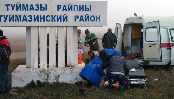 На месте ДТП с автомобилем ВАЗ-2115, въехавшем в группу школьников в Башкирии. 13 октября 2017