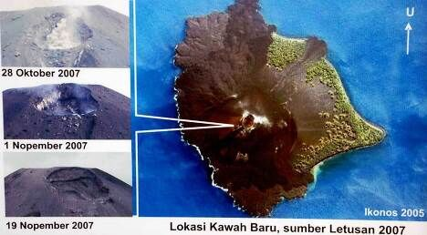 Схема появления кратера на вершине Анак-Кракатау