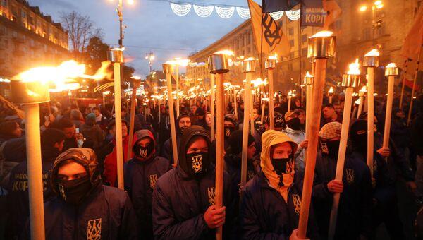 Марш по случаю 75-й годовщины создания Украинской повстанческой армии* в Киеве, Украина. 14 октября 2017