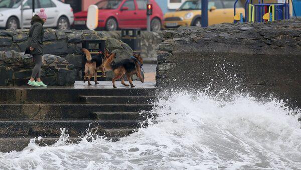 На побережье Ирландского моря во время шторма Офелия, Северная Ирландия. 16 октября 2017