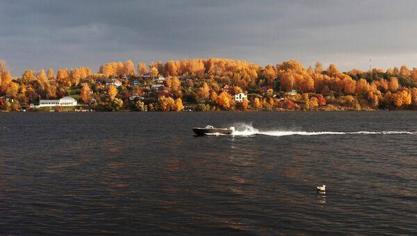 Осень в городе Плёс. Вид на Волгу