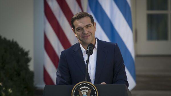 Премьер-министр Греции Алексис Ципрас в Белом доме во время пресс-конференции. 17 октября 2017