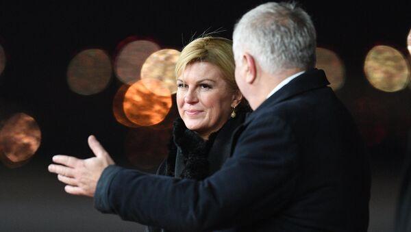 Президент Республики Хорватия Колинда Грабар-Китарович во время встречи в аэропорту Внуково-2. 18 октября 2017
