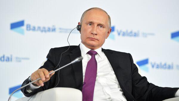 Президент РФ Владимир Путин принимает участие в итоговой сессии Международного дискуссионного клуба Валдай. 19 октября 2017