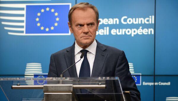 Председатель Европейского совета Дональд Туск на заседании Совета Европы в Брюсселе