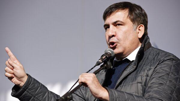 Бывший президент Грузии, экс-губернатор Одесской области Михаил Саакашвили выступает на вече у здания Верховной рады в Киеве. 22 октября 2017
