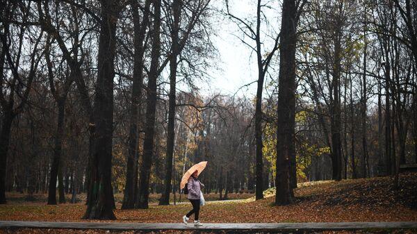 Женщина идет по дороге в парке-усадьбе Михалково во время дождя. Архивное фото.