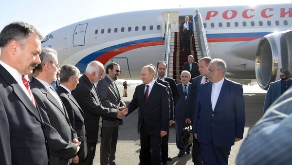 Президент РФ Владимир Путин церемонии во время встречи в аэропорту Тегерана. 1 ноября 2017