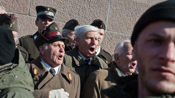 Шествие участников легиона Ваффен СС в Риге