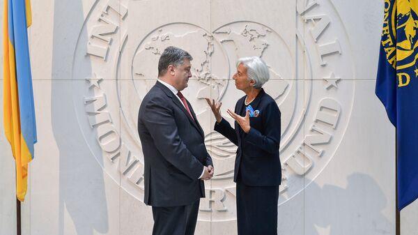 Президент Украины Петр Порошенко и глава МВФ Кристин Лагард во время встречи