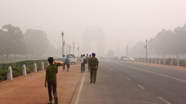 Смог над проспектом Радж Патх в Нью-Дели, Индия