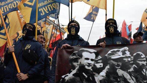 Участники марша в Киеве, приуроченного к годовщине создания Украинской повстанческой армии (УПА, экстремистская организация, запрещена в России). Архивное фото