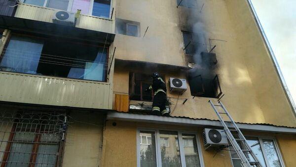 Тушение пожара  в общежитии в Центральном районе Сочи. 14 ноября 2017