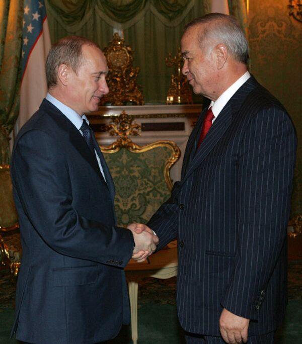 Президенты России Владимир Путин и Узбекистана Ислам Каримов