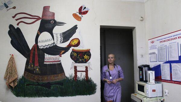 Наталья Флеглер на кухне для персонала больницы