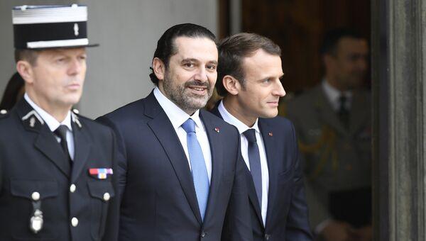 Президент Франции Эммануэль Макрон и премьер-министр Ливана Саад Харири после встречи в Елисейском дворце. 18 ноября 2017