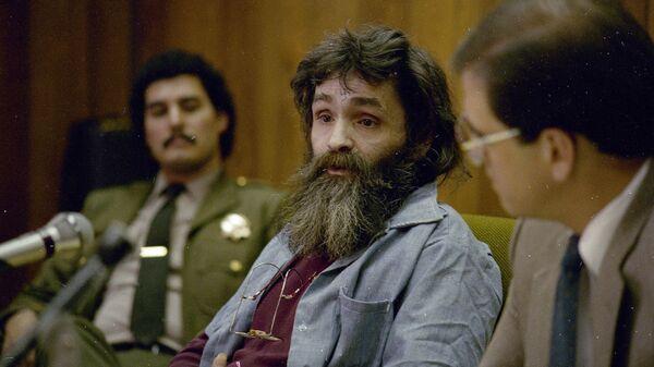 Американский преступник Чарльз Мэнсон во время судебных слушаний. Архивное фото