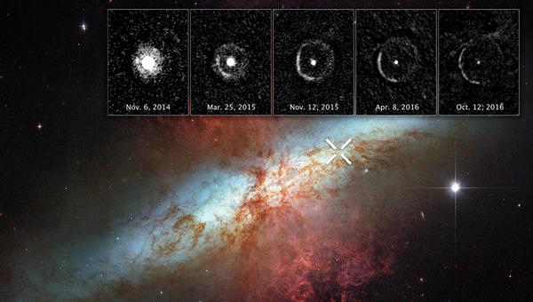 Свет от взрыва сверхновой SN 2014J, располагающейся в галактике М82