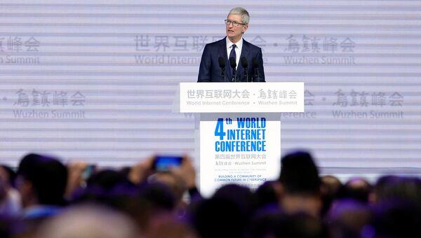 Генеральный директор Apple Тим Кук на церемонии открытия четвертой Всемирной интернет-конференции в Китае. 3 декабря 2017