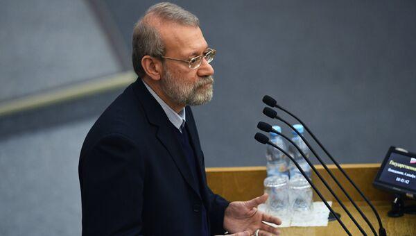 Председатель Собрания исламского совета Исламской Республики Иран Али Лариджани на Международной конференции Парламентарии против наркотиков. 4 декабря 2017