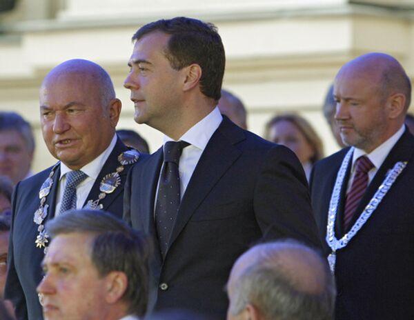 Мэр столицы Юрий Лужков, президент РФ Дмитрий Медведев и председатель Московской городской Думы Владимир Платонов