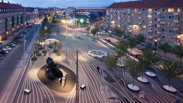 Городской парк Superkilen в Копенгагене (Дания)