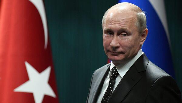 Президент РФ Владимир Путин во время совместного с президентом Турции Реджепом Тайипом Эрдоганом заявления для прессы. 11 декабря 2017